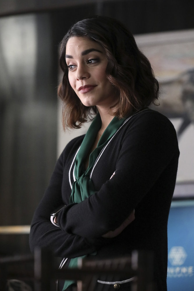 "POWERLESS -- ""Wayne Dream Team"" Episode 103 -- Pictured: Vanessa Hudgens as Emily -- (Photo by: Evans Vestal Ward/Warner Bros/NBC)"