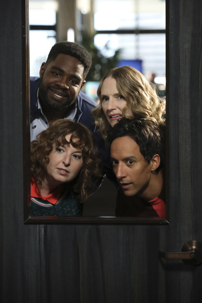 """POWERLESS -- """"Wayne Dream Team"""" Episode 103 -- Pictured: (clockwise) Ron Funches as Ron, Christina Kirk as Jackie, Danny Pudi as Teddy, Jennei Pierson as Wendy -- (Photo by: Evans Vestal Ward/Warner Bros/NBC)"""