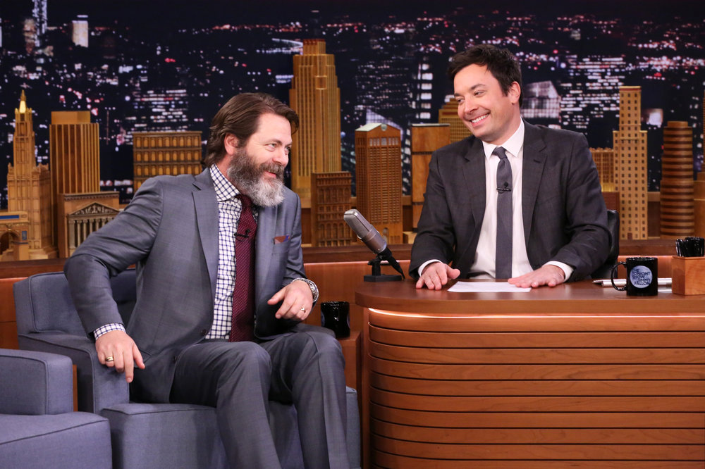 THE TONIGHT SHOW STARRING JIMMY FALLON -- Episode 0605 -- Pictured: (l-r) Actor Nick Offerman during an interview with host Jimmy Fallon on January 18, 2017 -- (Photo by: Andrew Lipovsky/NBC)