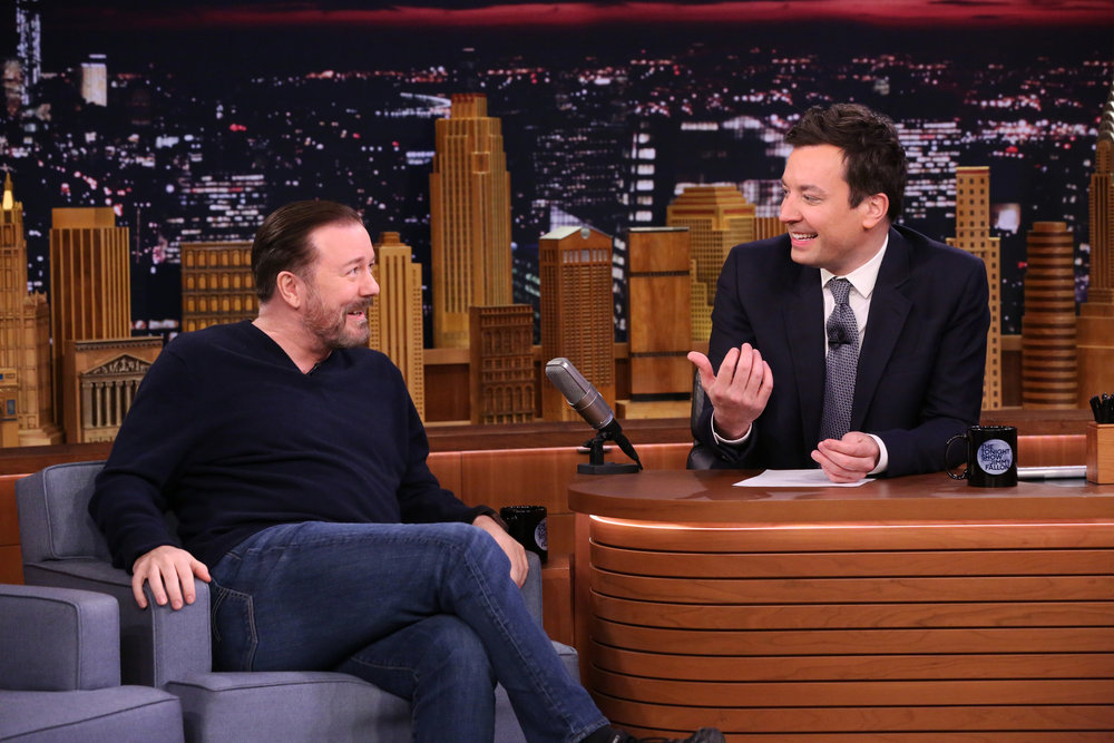 THE TONIGHT SHOW STARRING JIMMY FALLON -- Episode 0613 -- Pictured: (l-r) Comedian Ricky Gervais during an interview with host Jimmy Fallon on January 30, 2017 -- (Photo by: Andrew Lipovsky/NBC)