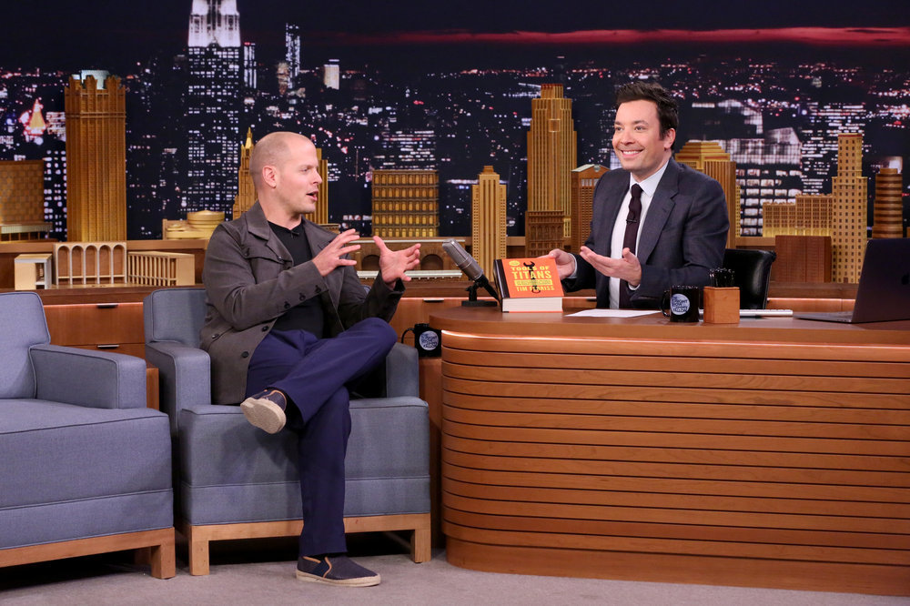 THE TONIGHT SHOW STARRING JIMMY FALLON -- Episode 0609 -- Pictured:  (l-r) Self-help author Tim Ferriss during an interview with host Jimmy Fallon on January 24, 2017 -- (Photo by: Andrew Lipovsky/NBC)