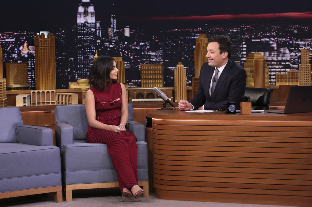 THE TONIGHT SHOW STARRING JIMMY FALLON -- Episode 0613 -- Pictured: (l-r) Actress Vanessa Hudgens during an interview with host Jimmy Fallon on January 30, 2017 -- (Photo by: Andrew Lipovsky/NBC)