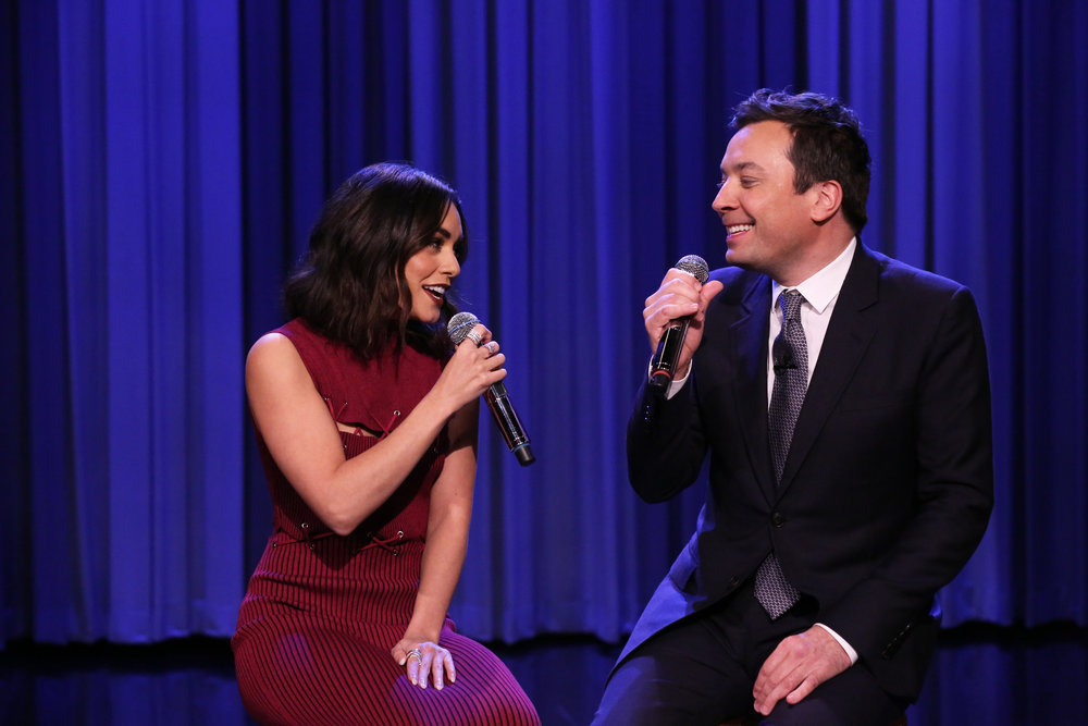 "THE TONIGHT SHOW STARRING JIMMY FALLON -- Episode 0613 -- Pictured: (l-r) Actress Vanessa Hudgens and host Jimmy Fallon Harmonize ""Friends"" on January 30, 2017 -- (Photo by: Andrew Lipovsky/NBC)"