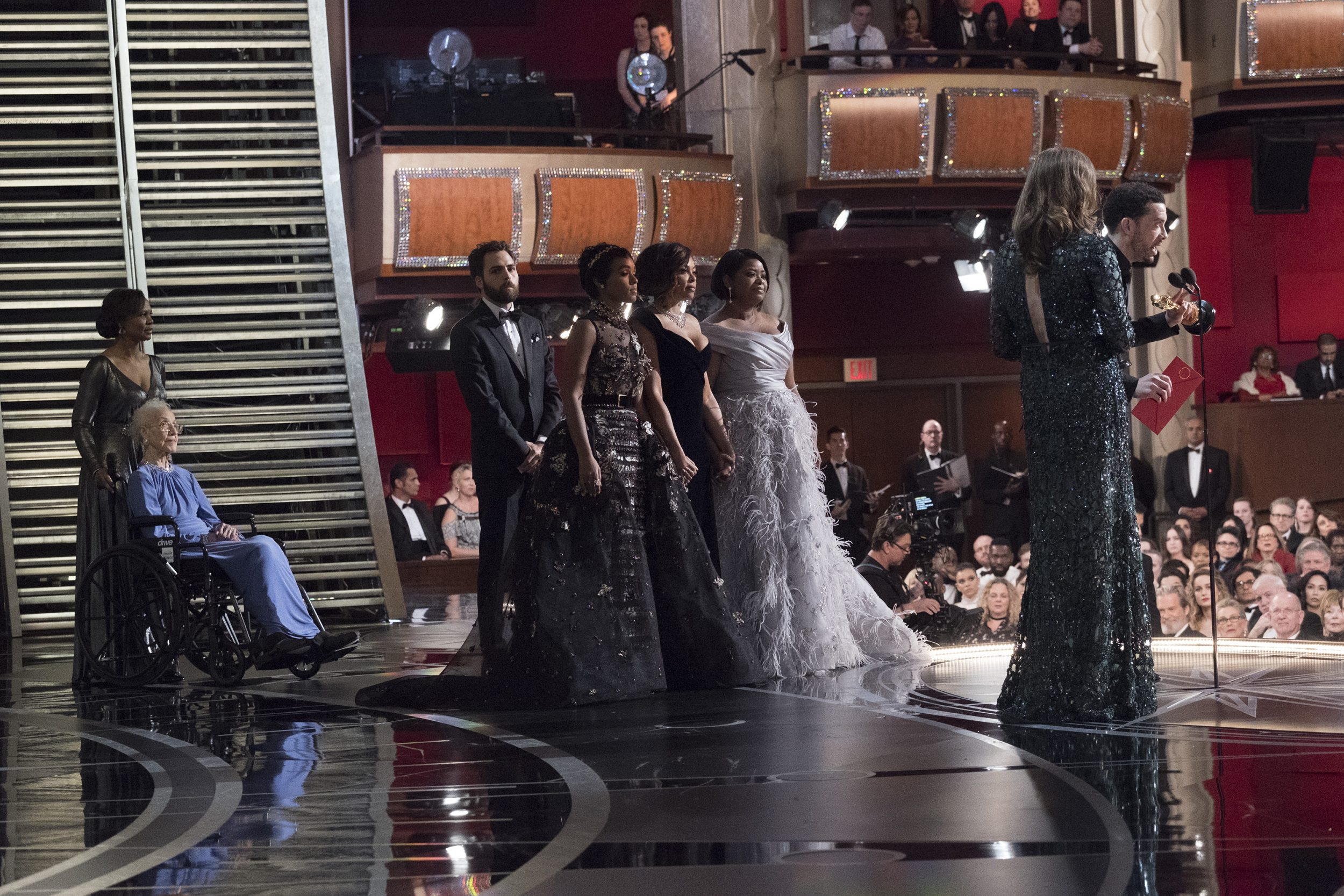THE OSCARS(r) - The 89th Oscars(r)  broadcasts live on Oscar(r) SUNDAY, FEBRUARY 26, 2017, on the ABC Television Network. (ABC/Adam Rose) DR. YVONNE CAGLE, KATHERINE JOHNSON, JANELLE MONAE, TARAJI P. HENSON, OCTAVIA SPENCER, CAROLINE WATERLOW, EZRA EDELMAN