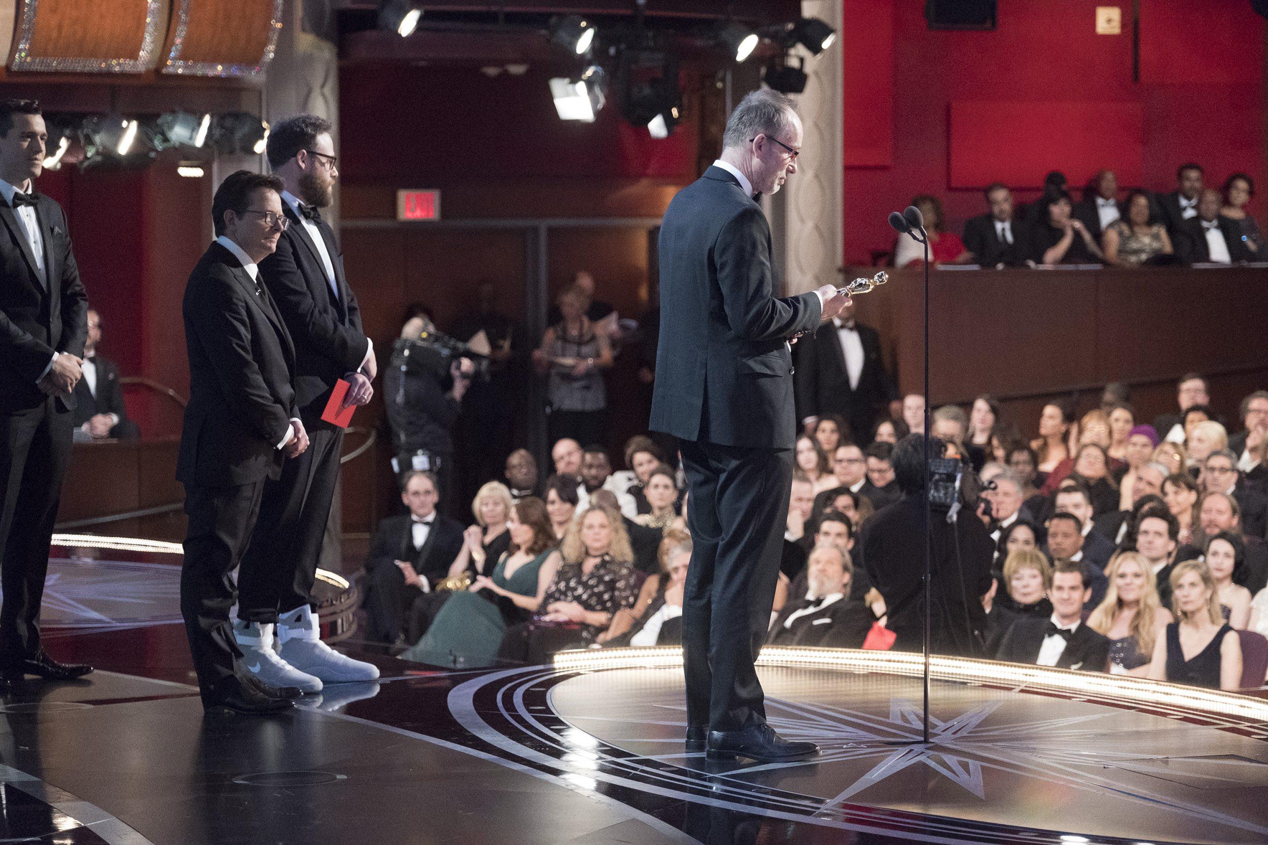 THE OSCARS(r) - The 89th Oscars(r)  broadcasts live on Oscar(r) SUNDAY, FEBRUARY 26, 2017, on the ABC Television Network. (ABC/Adam Rose) MICHAEL J. FOX, SETH ROGEN, JOHN GILBERT