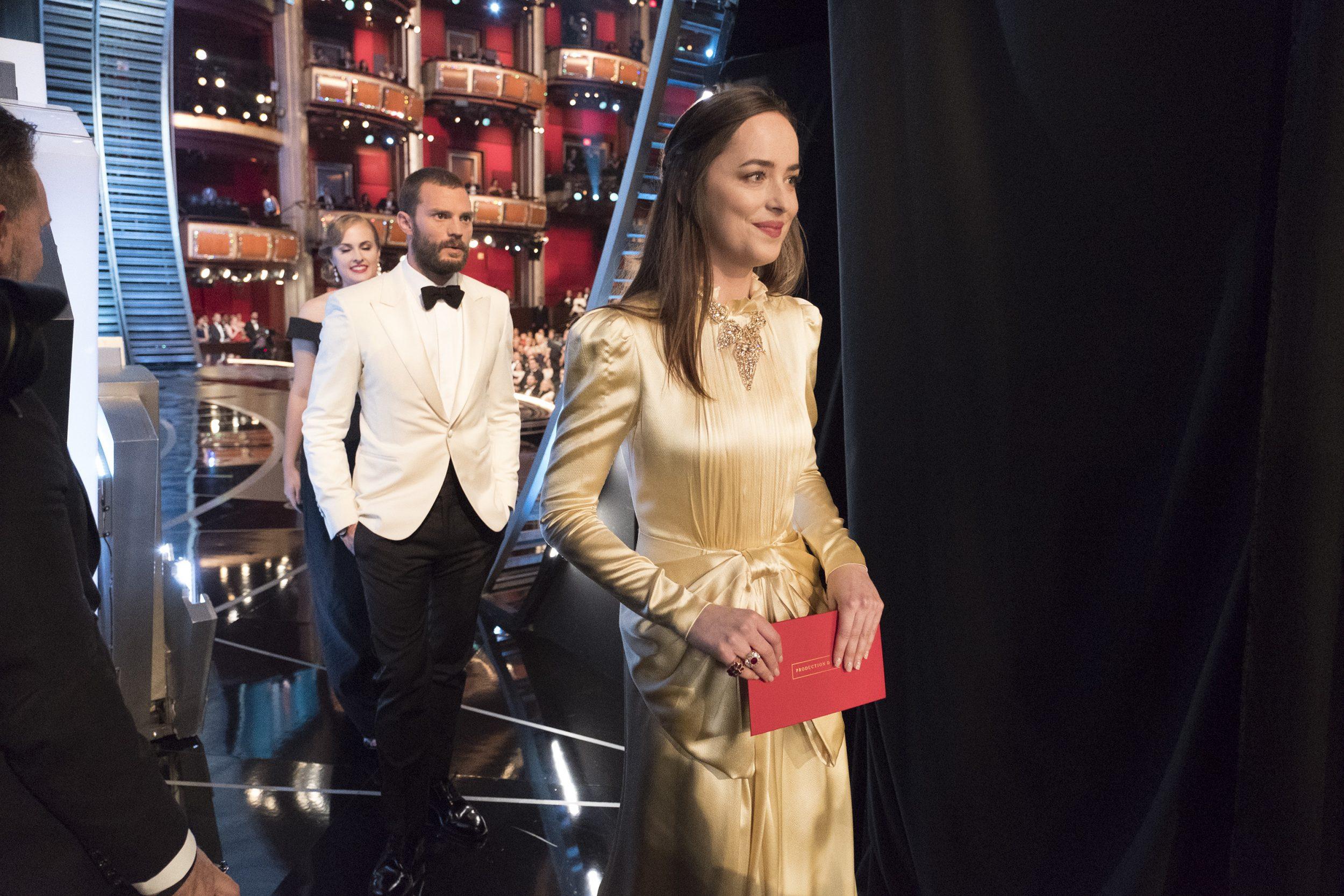THE OSCARS(r) - The 89th Oscars(r)  broadcasts live on Oscar(r) SUNDAY, FEBRUARY 26, 2017, on the ABC Television Network. (ABC/Adam Rose) JAMIE DORNAN, DAKOTA JOHNSON