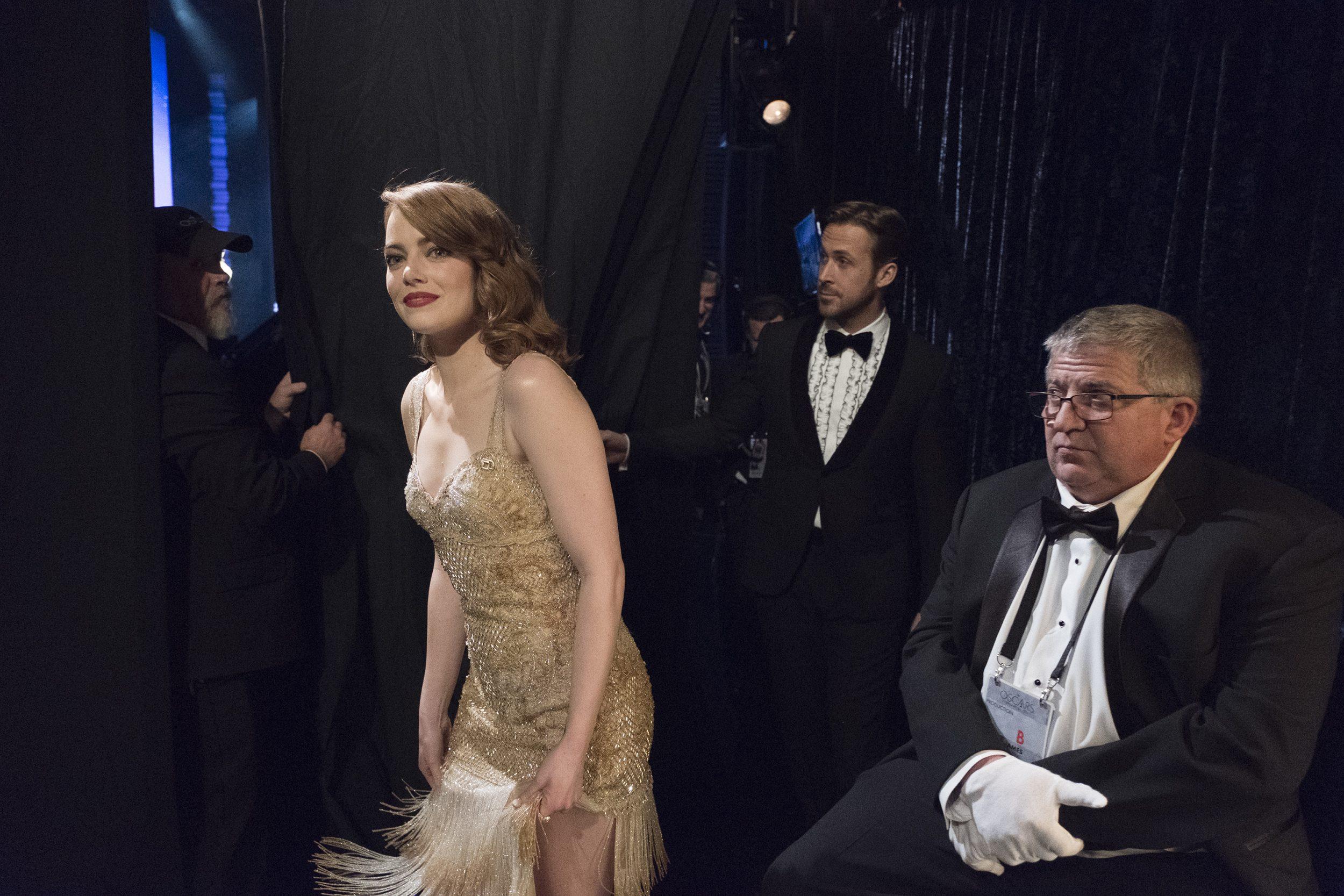 THE OSCARS(r) - The 89th Oscars(r)  broadcasts live on Oscar(r) SUNDAY, FEBRUARY 26, 2017, on the ABC Television Network. (ABC/Adam Rose) EMMA STONE, RYAN GOSLING