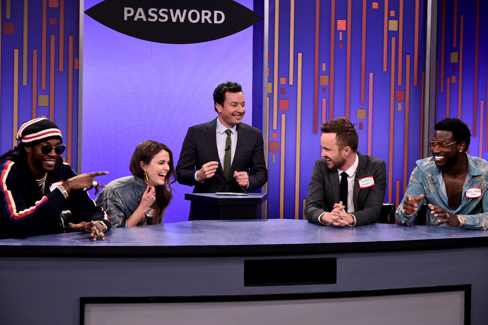 THE TONIGHT SHOW STARRING JIMMY FALLON -- Episode 0632 -- Pictured: (l-r) Rapper 2 Chainz, Actress Keri Russell, host Jimmy Fallon, actor Aaron Paul and recording artist Gucci Mane play password on February 27, 2017 -- (Photo by: Theo Wargo/NBC)