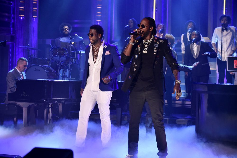 THE TONIGHT SHOW STARRING JIMMY FALLON -- Episode 0632 -- Pictured: (l-r) Musical guests Gucci Mane and 2 Chainz perform on February 27, 2017 -- (Photo by: Theo Wargo/NBC)