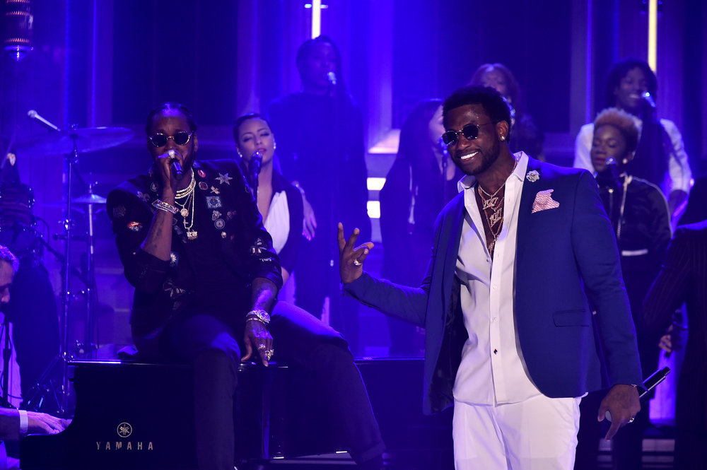 THE TONIGHT SHOW STARRING JIMMY FALLON -- Episode 0632 -- Pictured: (l-r) Musical guests 2 Chainz and Gucci Mane perform on February 27, 2017 -- (Photo by: Theo Wargo/NBC)