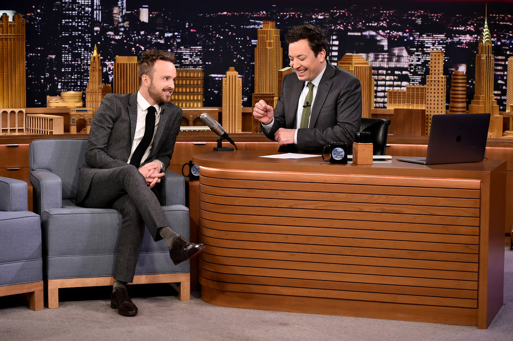 THE TONIGHT SHOW STARRING JIMMY FALLON -- Episode 0632 -- Pictured: (l-r) Actor Aaron Paul during an interview with host Jimmy Fallon on February 27, 2017 -- (Photo by: Theo Wargo/NBC)