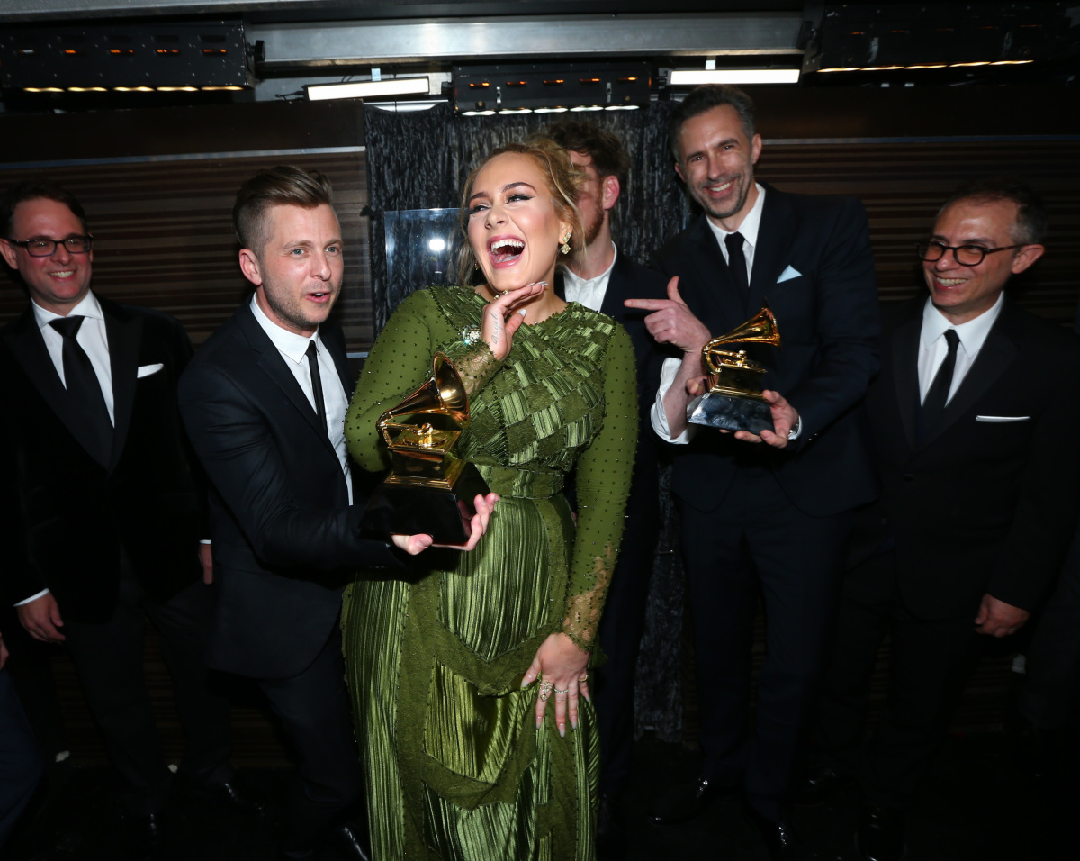 Adele, winner of Record of the Year, backstage at THE 59TH ANNUAL GRAMMY AWARDS®, broadcast live from the STAPLES Center in Los Angeles, Sunday, Feb. 12 (8:00-11:30 PM, live ET/5:00-8:30 PM, live PT; 6:00-9:30 PM, live MT) on the CBS Television Network. Photo: Mark Davis/CBS ©2017 CBS Broadcasting, Inc. All Rights Reserved