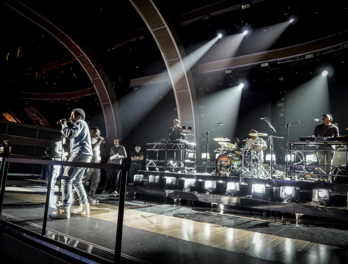 A Tribe Called Quest and Anderson .Paak during rehearsals for THE 59TH ANNUAL GRAMMY AWARDS®, scheduled to broadcast live from the STAPLES Center in Los Angeles, Sunday, Feb. 12 (8:00-11:30 PM, live ET/5:00-8:30 PM, live PT; 6:00-9:30 PM, live MT) on the CBS Television Network. Photo: Francis Specker/CBS ©2017 CBS Broadcasting, Inc. All Rights Reserved