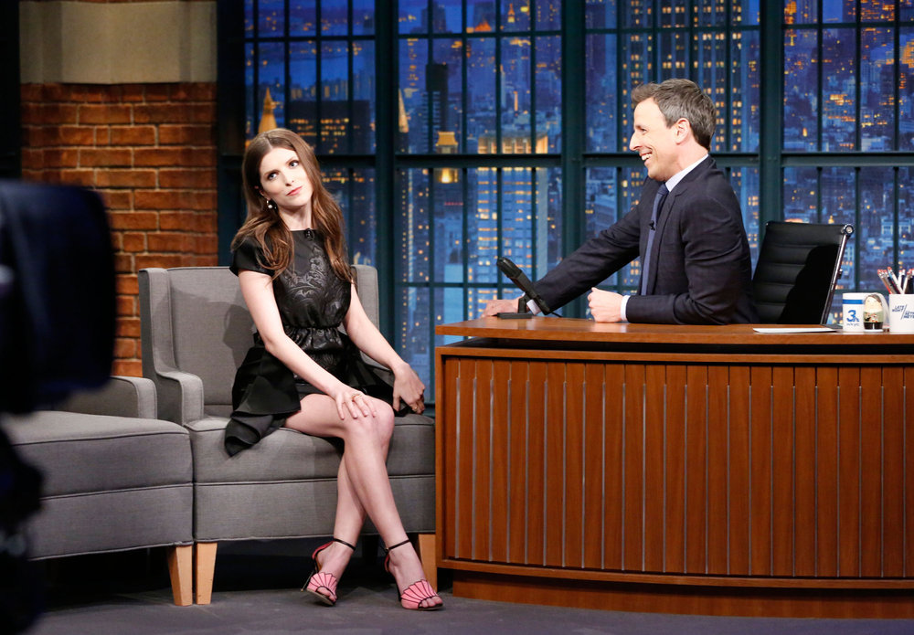 LATE NIGHT WITH SETH MEYERS -- Episode 492 -- Pictured: (l-r) Actress Anna Kendrick during an interview with host Seth Meyers on February 20, 2017 -- (Photo by: Lloyd Bishop/NBC)