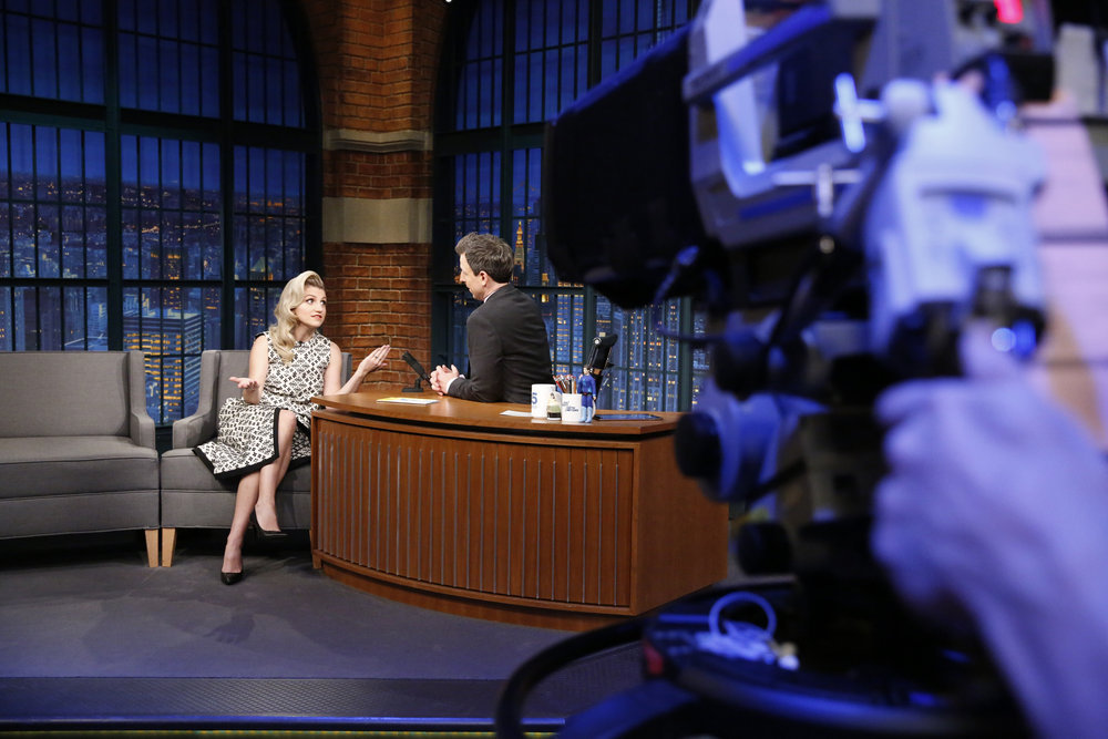 LATE NIGHT WITH SETH MEYERS -- Episode 489 -- Pictured: (l-r) Actress Annaleigh Ashford during an interview with host Seth Meyers on February 14, 2017 -- (Photo by: Lloyd Bishop/NBC)