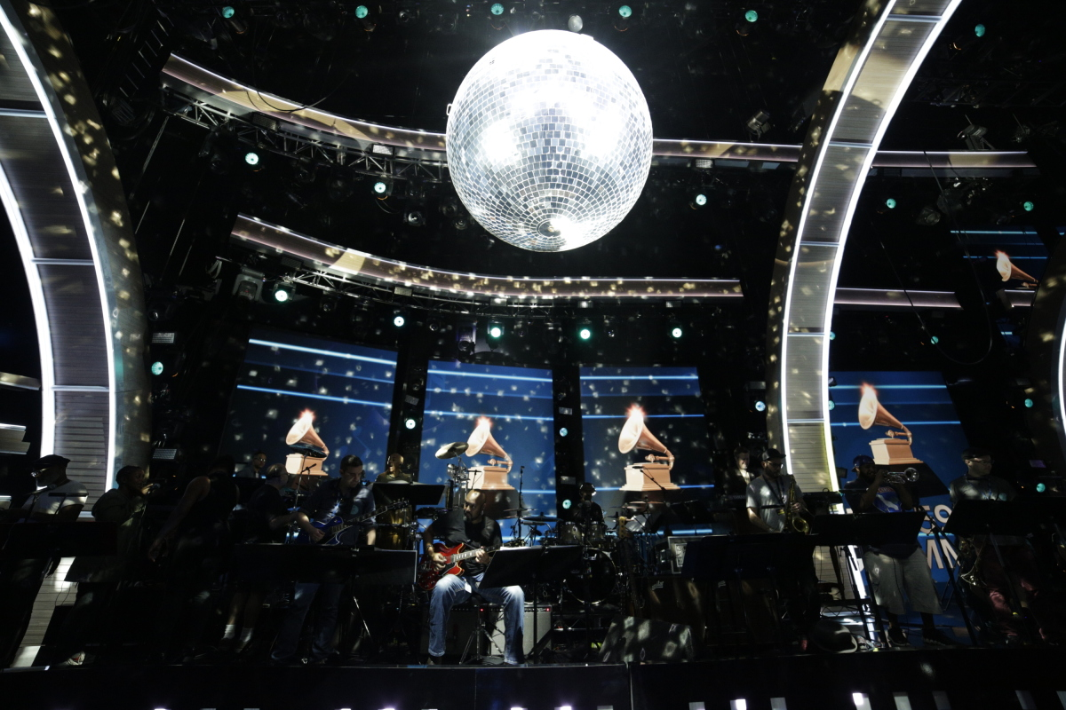 The Bee Gees Band perform during rehearsals for THE 59TH ANNUAL GRAMMY AWARDS®, scheduled to broadcast live from the STAPLES Center in Los Angeles, Sunday, Feb. 12 (8:00-11:30 PM, live ET/5:00-8:30 PM, live PT; 6:00-9:30 PM, live MT) on the CBS Television Network. Photo: Francis Specker/CBS ©2017 CBS Broadcasting, Inc. All Rights Reserved