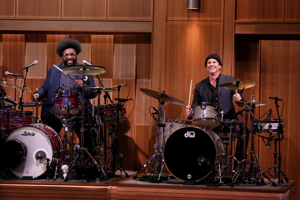 """THE TONIGHT SHOW STARRING JIMMY FALLON -- Episode 0626 -- Pictured: (l-r) Ahmir """"Questlove"""" Thompson of The Roots and Chad Smith on February 16, 2017 -- (Photo by: Andrew Lipovsky/NBC)"""