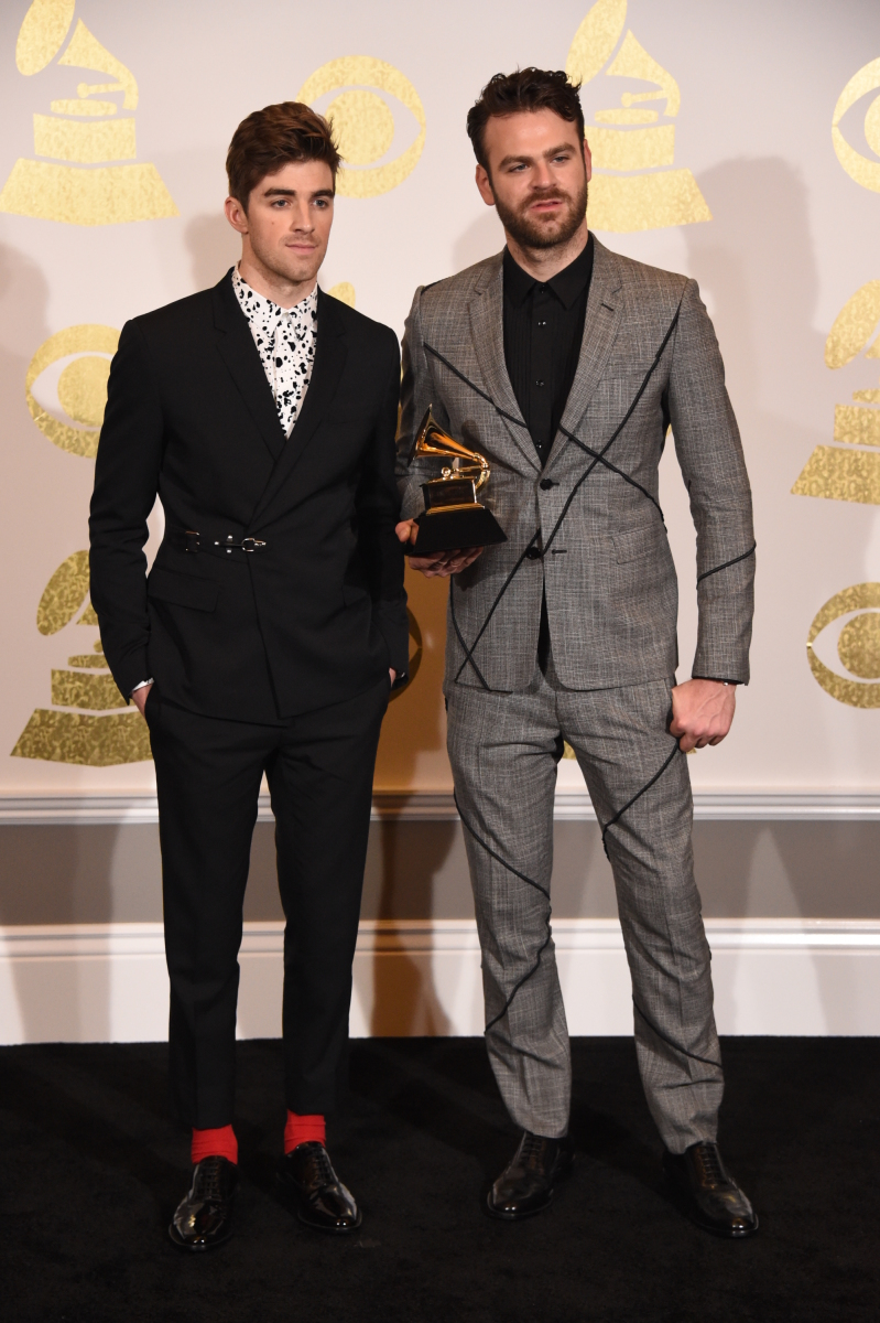 Chainsmokers poses for photographs backstage at THE 59TH ANNUAL GRAMMY AWARDS®, broadcast live from the STAPLES Center in Los Angeles, Sunday, Feb. 12 (8:00-11:30 PM, live ET/5:00-8:30 PM, live PT; 6:00-9:30 PM, live MT) on the CBS Television Network. Photo: Phil McCarten/CBS ©2017 CBS Broadcasting, Inc. All Rights Reserved
