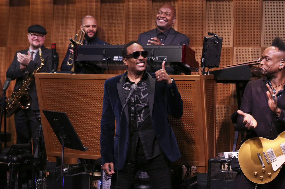 THE TONIGHT SHOW STARRING JIMMY FALLON -- Episode 0630 -- Pictured: (l-r) Vocalist Charlie Wilson sits-in with The Roots on February 23, 2017 -- (Photo by: Andrew Lipovsky/NBC)