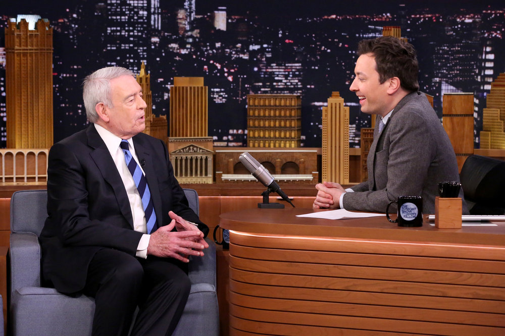 THE TONIGHT SHOW STARRING JIMMY FALLON -- Episode 0616 -- Pictured: (l-r) Journalist Dan Rather during an interview with host Jimmy Fallon on February 2, 2017 -- (Photo by: Andrew Lipovsky/NBC)