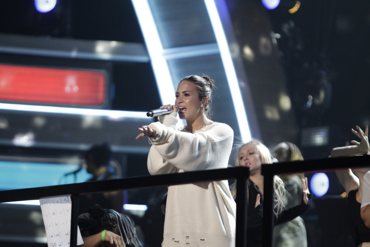 Demi Lovato performs during rehearsals for THE 59TH ANNUAL GRAMMY AWARDS®, scheduled to broadcast live from the STAPLES Center in Los Angeles, Sunday, Feb. 12 (8:00-11:30 PM, live ET/5:00-8:30 PM, live PT; 6:00-9:30 PM, live MT) on the CBS Television Network. Photo: Francis Specker/CBS ©2017 CBS Broadcasting, Inc. All Rights Reserved