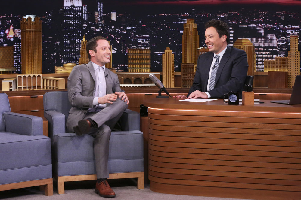 THE TONIGHT SHOW STARRING JIMMY FALLON -- Episode 0630 -- Pictured: (l-r) Actor Elijah Wood during an interview with host Jimmy Fallon on February 23, 2017 -- (Photo by: Andrew Lipovsky/NBC)