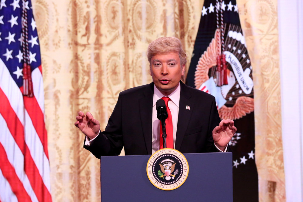 THE TONIGHT SHOW STARRING JIMMY FALLON -- Episode 0626 -- Pictured: Host Jimmy Fallon as President Donald J. Trump on February 16, 2017 -- (Photo by: Andrew Lipovsky/NBC)