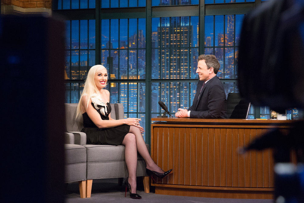 LATE NIGHT WITH SETH MEYERS -- Episode 493 -- Pictured: (l-r) Gwen Stefani during an interview with host Seth Meyers on February 21, 2017 -- (Photo by: Lloyd Bishop/NBC)