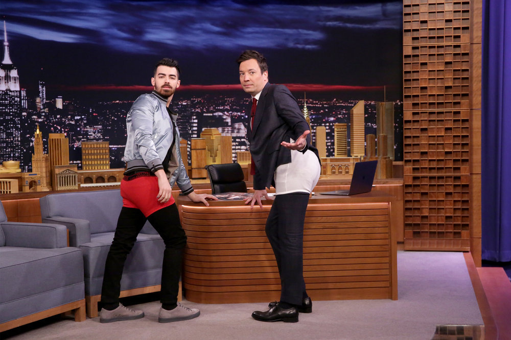 THE TONIGHT SHOW STARRING JIMMY FALLON -- Episode 0618 -- Pictured: (l-r) Singer Joe Jonas during an interview with host Jimmy Fallon on February 6, 2017 -- (Photo by: Andrew Lipovsky/NBC)