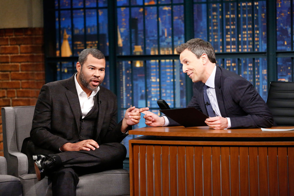 LATE NIGHT WITH SETH MEYERS -- Episode 492 -- Pictured: (l-r) Comedian Jordan Peele during an interview with host Seth Meyers on February 20, 2017 -- (Photo by: Lloyd Bishop/NBC)