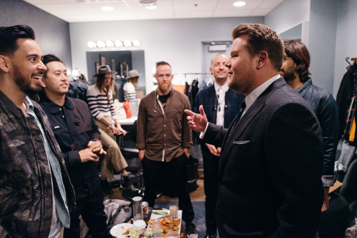 "Linkin Park chat in the green room with James Corden during ""The Late Late Show with James Corden,"" Monday, February 27, 2017 (12:35 PM-1:37 AM ET/PT) On The CBS Television Network. Photo: Terence Patrick/CBS ©2017 CBS Broadcasting, Inc. All Rights Reserved"