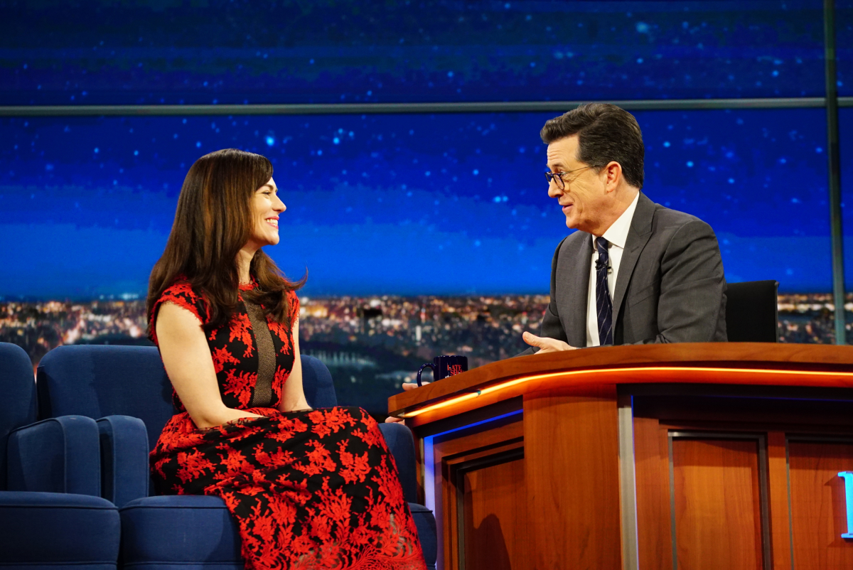 The Late Show with Stephen Colbert on Thursday, Feb. 16, 2017 with guest Maggie Siff Photo: Mary Kouw/CBS ©2017 CBS Broadcasting Inc. All Rights Reserved
