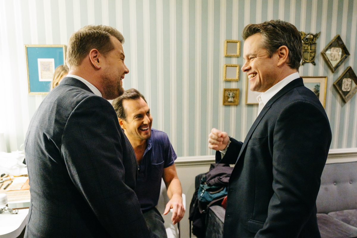 "Matt Damon and Will Arnett chat in the green room with James Corden during ""The Late Late Show with James Corden,"" Thursday, February 16, 2017 (12:35 PM-1:37 AM ET/PT) On The CBS Television Network. Photo: Terence Patrick/CBS ©2017 CBS Broadcasting, Inc. All Rights Reserved"