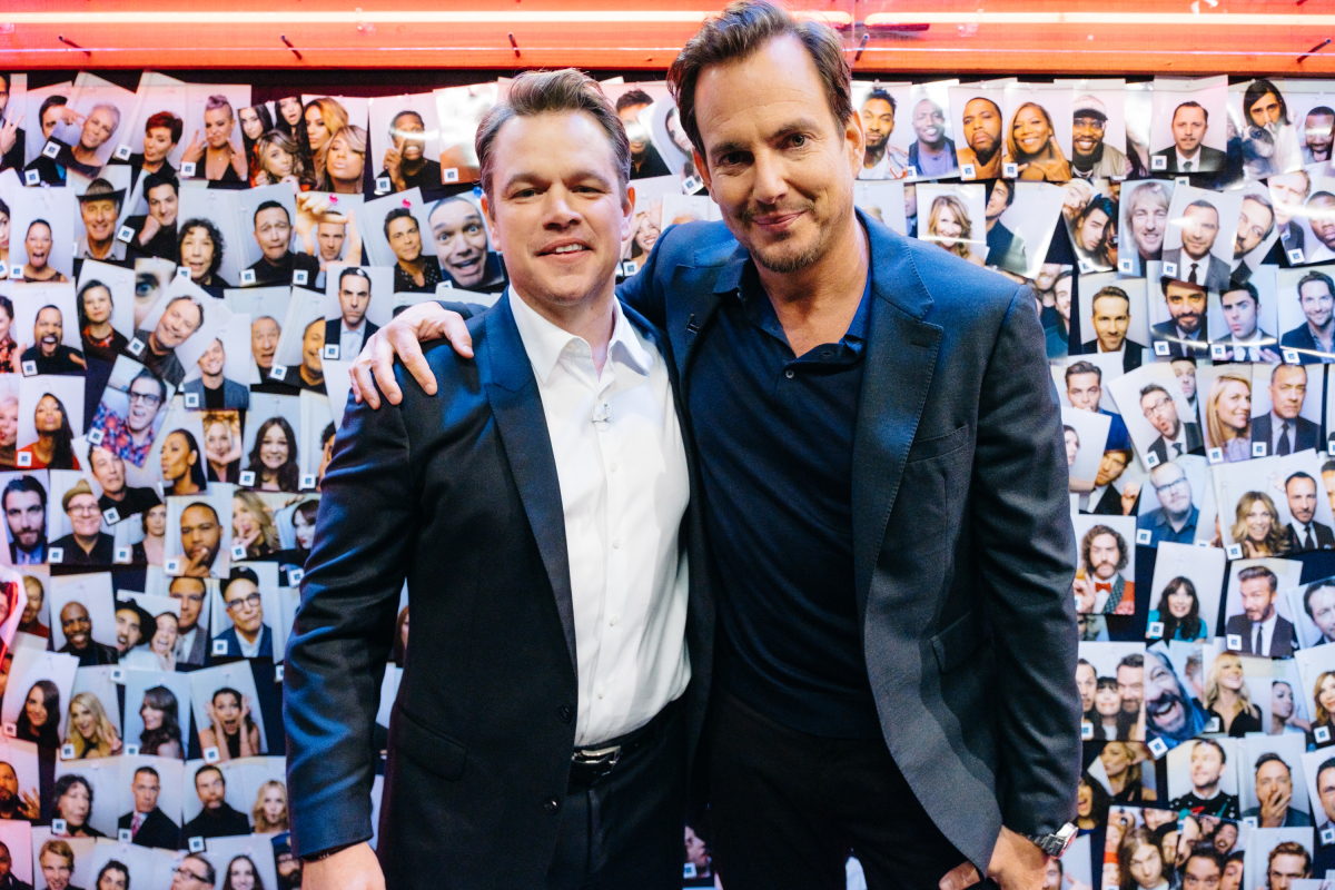 "Matt Damon and Will Arnett backstage during ""The Late Late Show with James Corden,"" Thursday, February 16, 2017 (12:35 PM-1:37 AM ET/PT) On The CBS Television Network. Photo: Terence Patrick/CBS ©2017 CBS Broadcasting, Inc. All Rights Reserved"