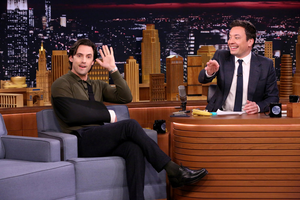 THE TONIGHT SHOW STARRING JIMMY FALLON -- Episode 0628 -- Pictured: (l-r) Actor Milo Ventimiglia during an interview with host Jimmy Fallon on February 21, 2017 -- (Photo by: Andrew Lipovsky/NBC)