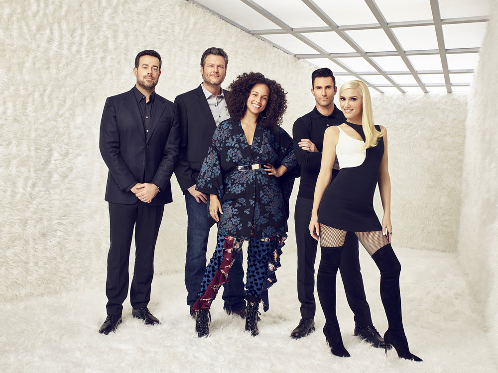 THE VOICE -- Season: 12 -- Pictured: (l-r) Carson Daly, Blake Shelton, Alicia Keys, Adam Levine, Gwen Stefani -- (Photo by: Brian Bowen Smith/NBC)