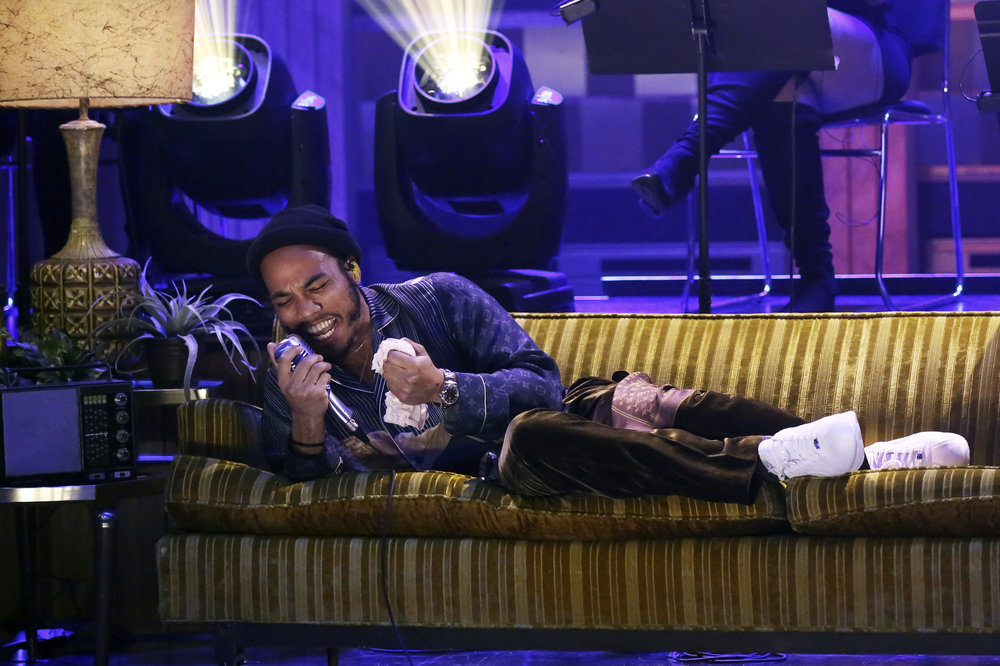 THE TONIGHT SHOW STARRING JIMMY FALLON -- Episode 0624 -- Pictured: (l-r) Anderson .Paak of musical guest NxWorries performs on February 14, 2017 -- (Photo by: Andrew Lipovsky/NBC)