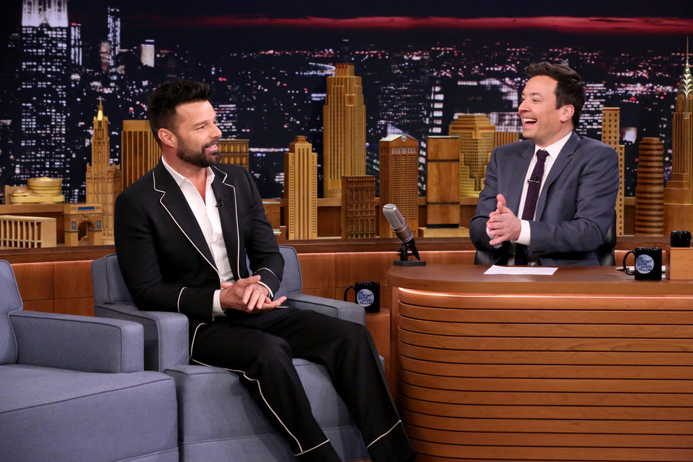 THE TONIGHT SHOW STARRING JIMMY FALLON -- Episode 0626 -- Pictured: (l-r) Singer Ricky Martin during an interview with host Jimmy Fallon on February 16, 2017 -- (Photo by: Andrew Lipovsky/NBC)