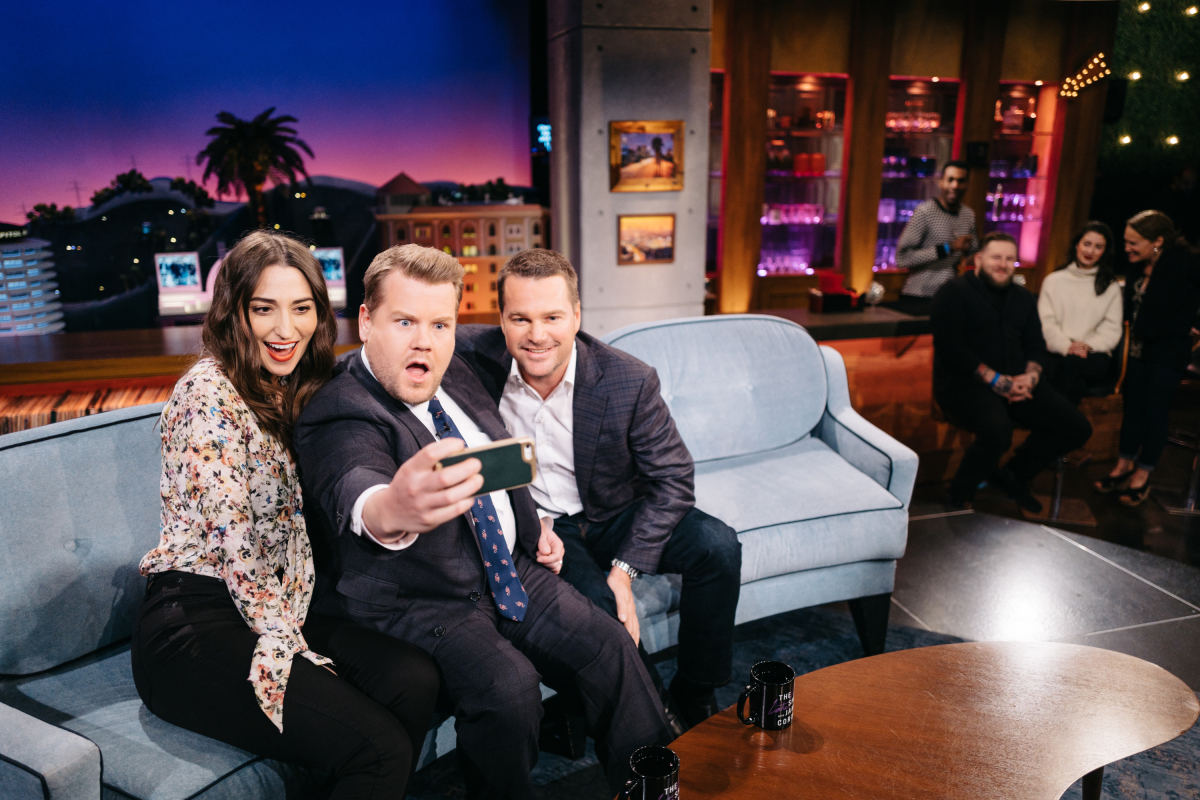 "Sara Bareilles and Chris O'Donnell chat with James Corden during ""The Late Late Show with James Corden,"" Monday, February 27, 2017 (12:35 PM-1:37 AM ET/PT) On The CBS Television Network. Photo: Terence Patrick/CBS ©2017 CBS Broadcasting, Inc. All Rights Reserved"