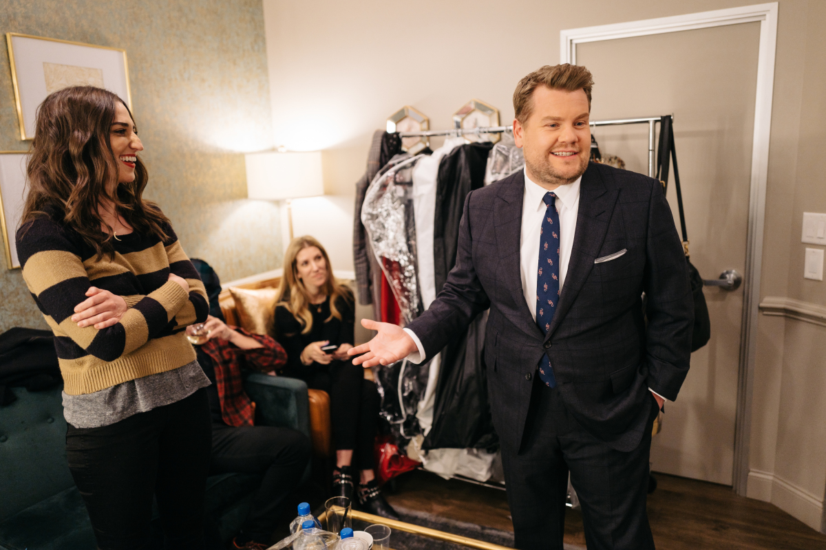 "Sara Bareilles chats in the green room with James Corden during ""The Late Late Show with James Corden,"" Monday, February 27, 2017 (12:35 PM-1:37 AM ET/PT) On The CBS Television Network. Photo: Terence Patrick/CBS ©2017 CBS Broadcasting, Inc. All Rights Reserved"