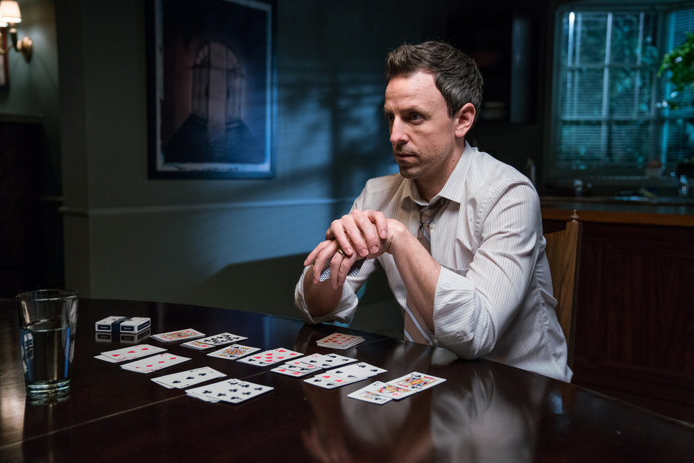 LATE NIGHT WITH SETH MEYERS -- Episode 493 -- Pictured: Host Seth Meyers during the 'Oscar Bait' sketch -- (Photo by: Lloyd Bishop/NBC)