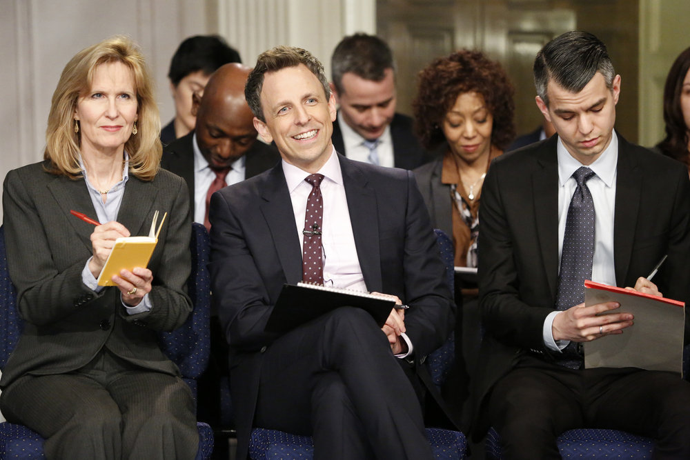 LATE NIGHT WITH SETH MEYERS -- Episode 493 -- Pictured: Host Seth Meyers during the 'Late Night White House Press Conference' sketch on February 21, 2017 -- (Photo by: Lloyd Bishop/NBC)