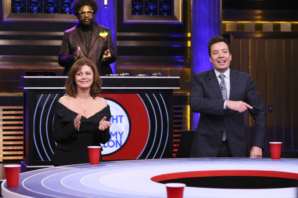 "THE TONIGHT SHOW STARRING JIMMY FALLON -- Episode 0630 -- Pictured: (l-r) Actress Susan Sarandon, Ahmir ""Questlove"" Thompson, and host Jimmy Fallon during ""Musical Beers"" on February 23, 2017 -- (Photo by: Andrew Lipovsky/NBC)"