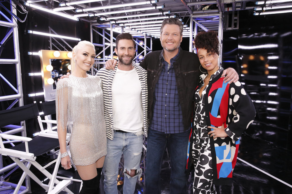 "THE VOICE -- ""Blind Auditions"" -- Pictured: (l-r) Gwen Stefani, Adam Levine, Blake Shelton, Alicia Keys -- (Photo by: Trae Patton/NBC)"