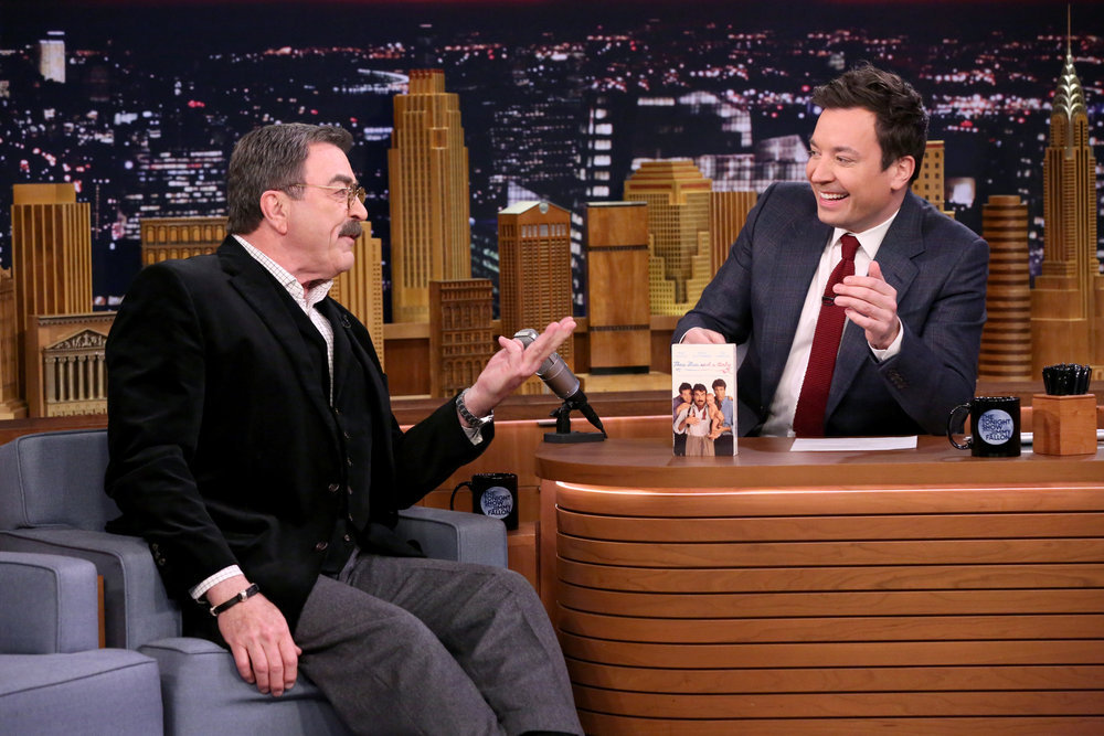 THE TONIGHT SHOW STARRING JIMMY FALLON -- Episode 0618 -- Pictured: (l-r) Actor Tom Selleck during an interview with host Jimmy Fallon on February 6, 2017 -- (Photo by: Andrew Lipovsky/NBC)