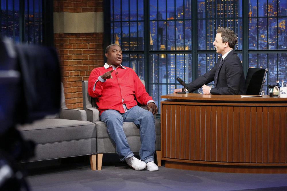 LATE NIGHT WITH SETH MEYERS -- Episode 491 -- Pictured: (l-r) Comedian Tracy Morgan during an interview with host Seth Meyers on February 16, 2017 -- (Photo by: Lloyd Bishop/NBC)