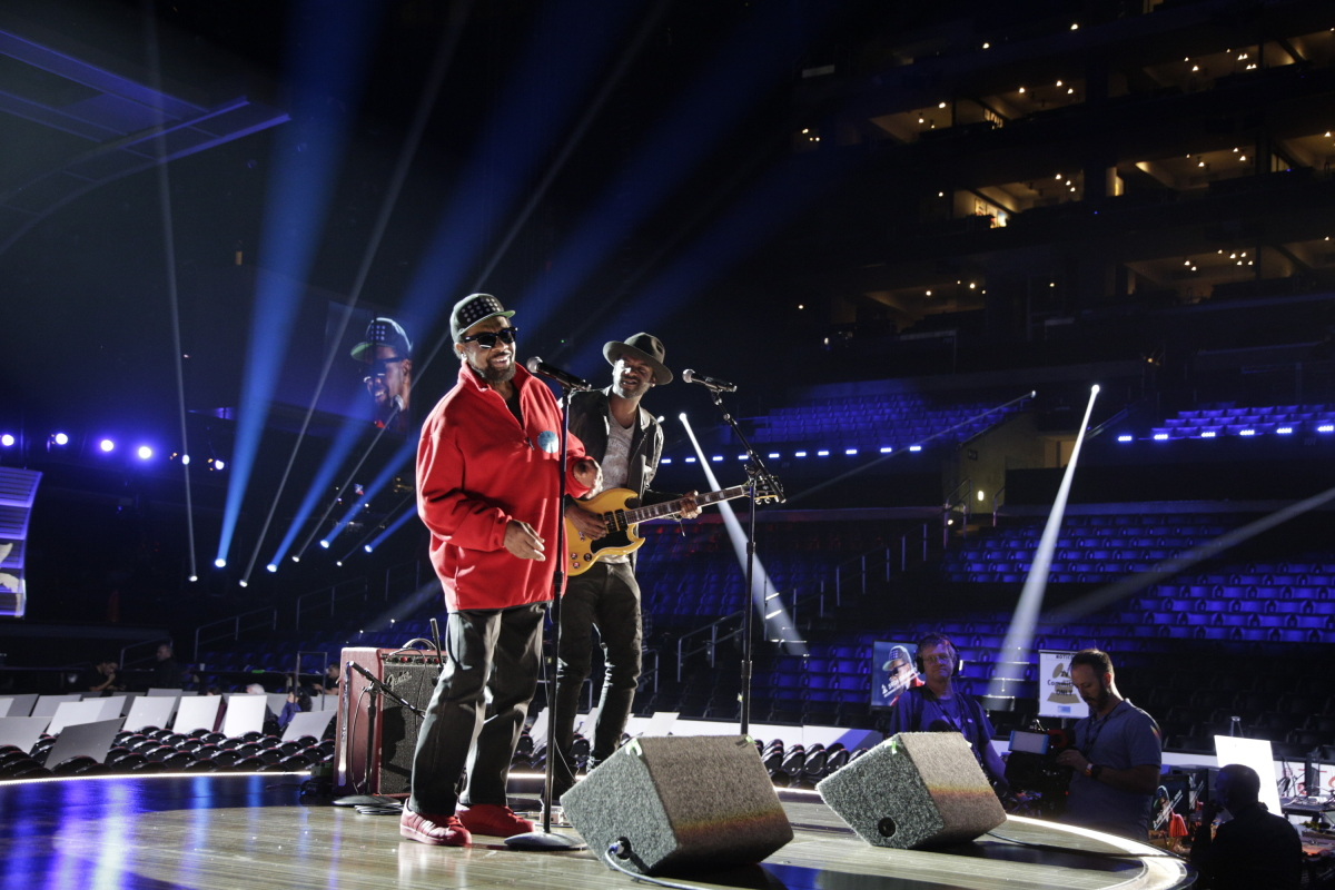 William Bell and Gary Clark Jr. perform during rehearsals for THE 59TH ANNUAL GRAMMY AWARDS®, scheduled to broadcast live from the STAPLES Center in Los Angeles, Sunday, Feb. 12 (8:00-11:30 PM, live ET/5:00-8:30 PM, live PT; 6:00-9:30 PM, live MT) on the CBS Television Network. Photo: Francis Specker/CBS ©2017 CBS Broadcasting, Inc. All Rights Reserved
