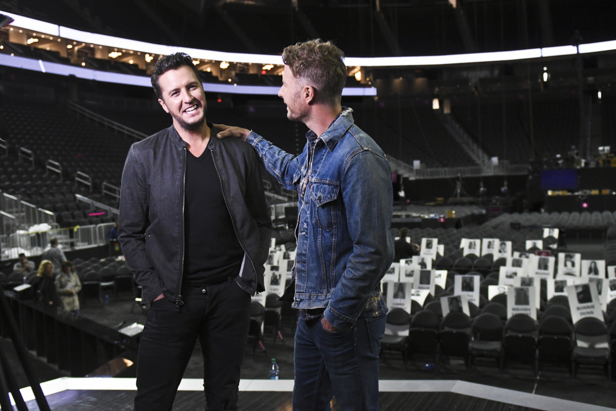Dierks Bentley and Luke Bryan are seen on camera during rehearsals for THE 52ND ACADEMY OF COUNTRY MUSIC AWARDS®, scheduled to air LIVE from T-Mobile Arena in Las Vegas Sunday, April 2 (live 8:00-11:00 PM, ET/delayed PT) on the CBS Television Network. Photo: Michele Crowe/CBS ©2017 CBS Broadcasting, Inc. All Rights Reserved