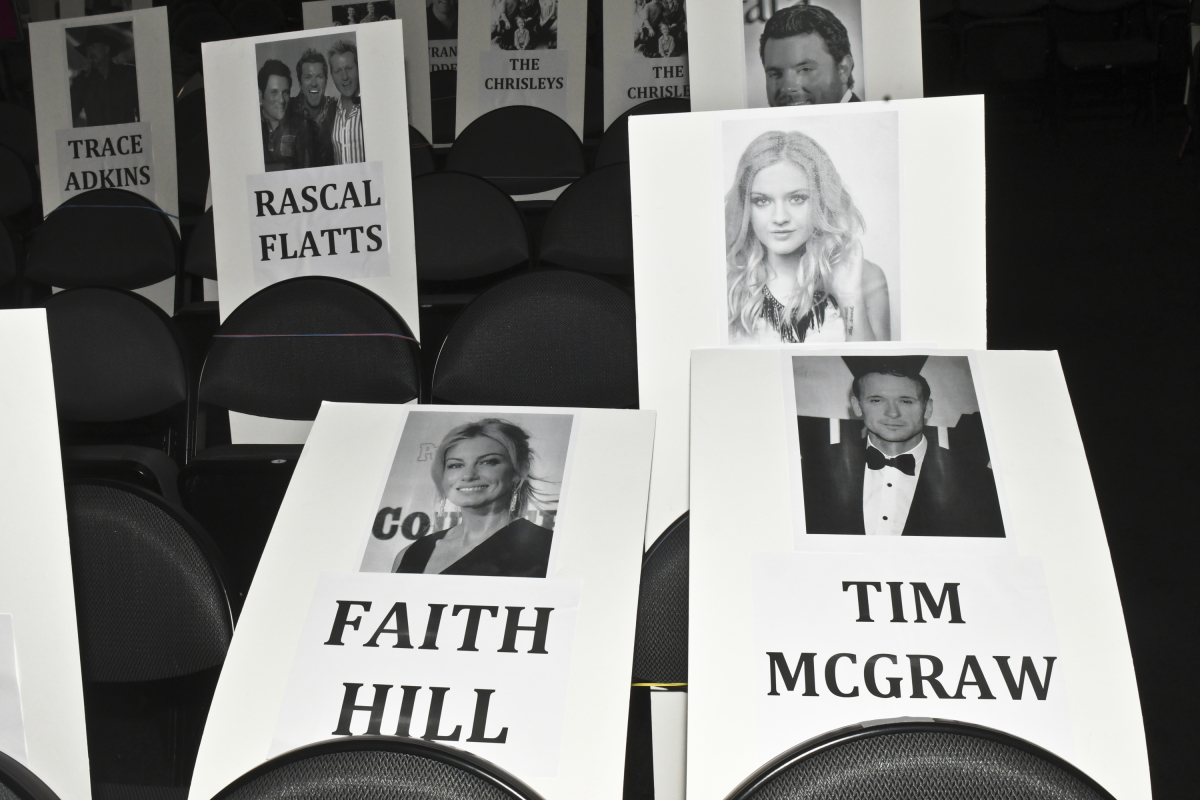 Seat cards are seen during rehearsal for THE 52ND ACADEMY OF COUNTRY MUSIC AWARDS®, scheduled to air LIVE from T-Mobile Arena in Las Vegas Sunday, April 2 (live 8:00-11:00 PM, ET/delayed PT) on the CBS Television Network. Photo: Michele Crowe/CBS ©2017 CBS Broadcasting, Inc. All Rights Reserved