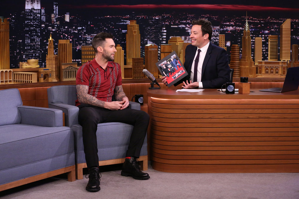 THE TONIGHT SHOW STARRING JIMMY FALLON -- Episode 639 -- Pictured: (l-r) Adam Levine during an interview with host Jimmy Fallon on March 14, 2017 -- (Photo by: Andrew Lipovsky/NBC)